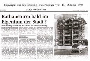 Rathausturm bald im Eigentum der Stadt - Kreiszeitung Wesermarsch vom 11. Oktober 1998