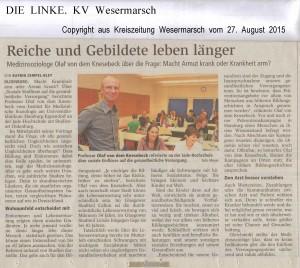Reiche und Gebildete leben länger  -  Kreiszeitung Wesermarsch vom 27. August 2015 -