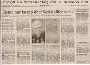 Rente nur knapp über Sozialhilfenieau - Nordwest-Zeitung vom 06. September 2003