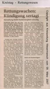 Rettungswachen - Kündigungen vertagt - Kreiszeitung Wesermarsch vom 09. März 2007