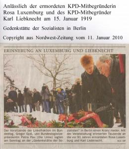 Rosa Luxemburg und Karl Liebknecht  - Nordwest-Zeitung vom 11. Januar  2010