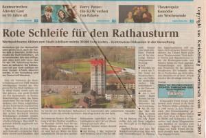 Rote Schleife für den Rathausturm - Kreiszeitung Wesermarsch vom 16. November 2007