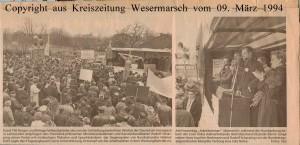 Rudolf Scharping - Kanzlerkandidat gegen Arbeitszeitverlängerung - Kreiszeitung Wesermarsch vom 09. März 1994 - Seite 1 von 2 Seiten