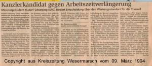 Rudolf Scharping - Kanzlerkandidat gegen Arbeitszeitverlängerung - Kreiszeitung Wesermarsch vom 09. März 1994 - Seite 2  von 2 Seiten