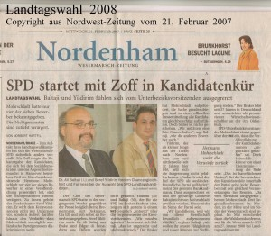 SPD startet mit Zoff in Kandidatenkür - Nordwest-Zeitung vom 21. Februar 2007