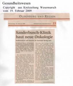 Sanderbusch-Klinik baut neue Onkologie - Kreiszeitung Wesermarsch vom 19. Februar 2009