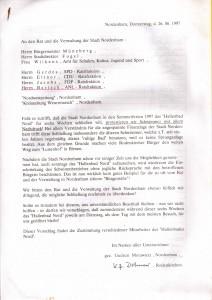 Schließung Hallenbad Nord - Unterschriften-Aktion vom 26. Juni 1997
