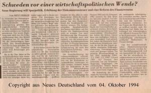 Schweden vor einer wirtschaftspolitischen Wende - Neues Deutschland vom 04. Oktober 1994