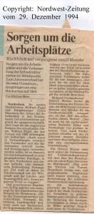 Sorgen um die  Arbeitsplätze - Nordwest-Zeitung vom 29. Dezember 1994 - Seite 1 von 2 Seiten