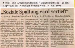 Soziale Spaltung wird vertieft - Nordwest-Zeitung vom 13. Juli 1994