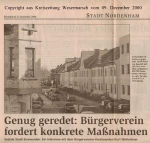 Soziale Stadt - Genug geredet - Bürgerverein fordert konkrete Maßnahmen - Kreiszeitung Wesermarsch vom 09. Dezember 2000 - Seite 1 von 2 Seiten