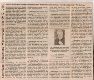 Soziale Stadt - Genug geredet - Bürgerverein fordert konkrete Maßnahmen - Kreiszeitung Wesermarsch vom 09. Dezember 2000 - Seite 2 von 2 Seiten