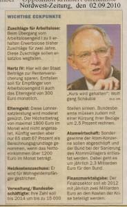 Soziale Streichliste des Bundesfinazministers Dr. Wolfgang Schäuble - Nordwest-Zeitung vom 02. September 2010