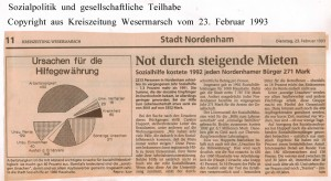 Sozialpolitik - Not durch steigende Mieten - Kreiszeitung Wesermarsch vom 23. Februar 1993