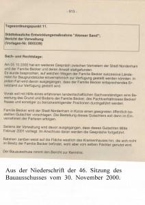 Städtebauliche Entwicklungsmaßnahme - Atenser Sand - Bericht der Verwaltung vom 30. November 2000