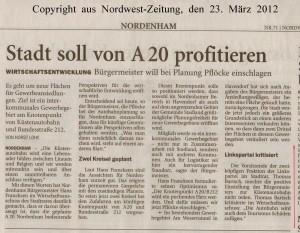 Stadt soll von A 20 profitieren - Nordwest-Zeitung vom 23. März 2012