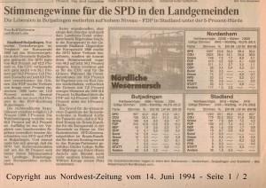 Stimmengewinne fü die SPD in den Landgemeinden - Nordwest-Zeitung vom 14. Juni 1994 - Seite 1 von 2 Seiten
