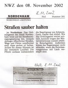 Straßen sauber halten - Nordwest-Zeitung vom 08. November 2000