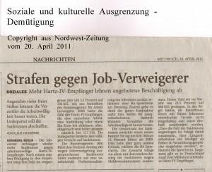 Strafen gegen Job-Verweigerer - Nordwest-Zeitung vom 20.  April 2011