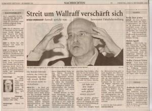 Streit um Wallraff verschärft sich - Nordwest-Zeitung vom 09. September 2003