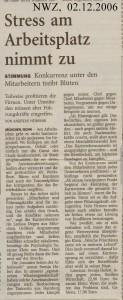Stress am Arbeitsplatz nimmt zu - Nordwest-Zeitung vom 02. Dezember 2006
