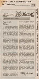 Thomas Bartsch - Von Land und Leuten - Reden ist Silber - Kreiszeitung Wesermarsch vom 16. Dezember 2000