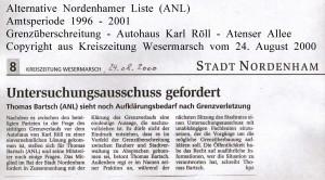 Untersuchungsausschuss gefordert  - Kreiszeitung Wesermarsch vom  24. August 2000