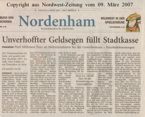 Unverhoffter Geldsegen füllt Stadtkasse - Nordwest-Zeitung vom 09. März 2007