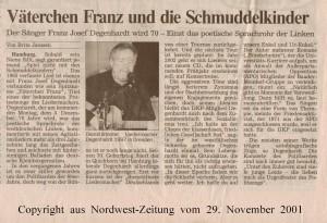 Väterchen Franz und die Schmuddelkinder - Nordwest-Zeitung vom 29. November 2001