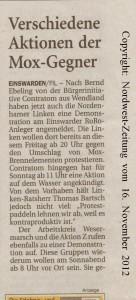 Verschieden Aktionen der MOX-Gegner - Nordwest-Zeitung vom  16. November 2012