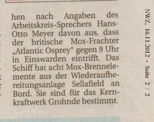 Verschieden Aktionen der MOX-Gegner - Nordwest-Zeitung vom  16. November 2012 - Seite 1 - 2
