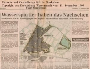 Wassersportler haben das Nachsehen - Kreiszeitung Wesermarsch vom 11. September 1999