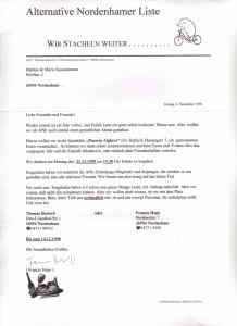 Weihnachtsfeier der Alternativen Nordenhamer Liste - ANL vom 04. Dezember 1998