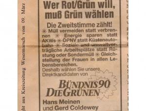 Wer Rot-Grün will, muß Grün wählen - KZW-Anzeige - Kreiszeitung Wesermarsch vom 09. März 1994 ---