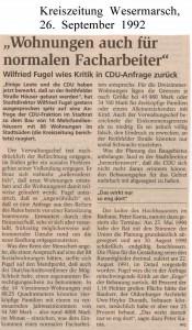 Wohnungen auch für den normalen Facharbeiter - Kreiszeitung Wesermarsch vom 26. September 1992