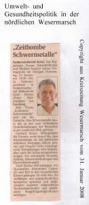 Zeitbombe Schwermetalle - Kreiszeitung Wesermarsch vom 31. Januar 2008
