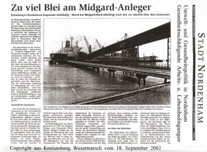Zu viel Blei am Midgard-Anleger - Kreiszeitung Wesermarsch den 18. September 2002