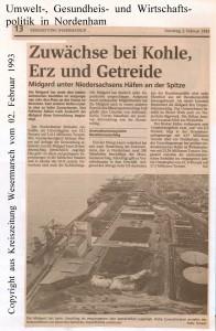 Zuwächse bei Kohle, Erz und Getreide - Kreiszeitung Wesermarsch vom 02. Februar 1993