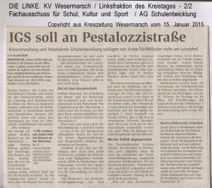 stalozzistraße - Kreiszeitung Wesermarsch vom 15. Januar 2015 - Seite 2  von  2 Seiten